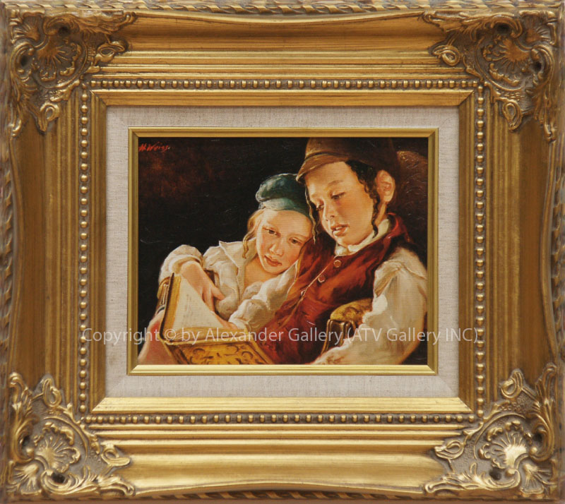 `The Boy`s Time` by H.Weiss,Giclee on canvas Framed&Embellished..