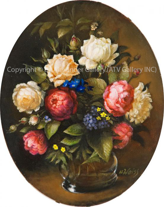 `Flowers`by H.Weiss,Giclee on canvas,Framed&Embellished.