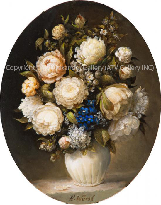 `FlowersII.`by H.Weiss,Giclee on canvas,Framed&Embellished.