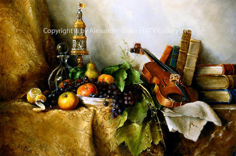 `Still Life V.`By H.Weiss,Giclee on canvas,Framed&Embellished..