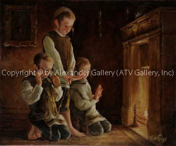 Boy`s at a fireplace. by H. Weiss