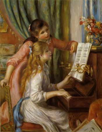 Two Young Girls At The Piano.Renoir copy by Surpin. by Surpin